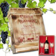 Weinkiste rustikal mit Gravur Rotweinflasche und Gläsern graviert