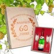 Geschenkset Sekt-Set Geburtstag, 2 Sektgläser mit Goldrand und Sektflasche
