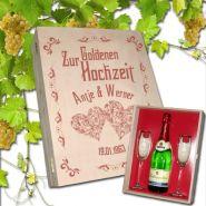 Geschenkset Goldene Hochzeit, 2 Sektgläser mit Goldrand und Sektflasche