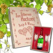 Geschenkset Silberne Hochzeit, 2 Sektgläser mit Silberrand und Sektflasche