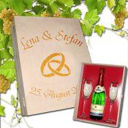 Geschenkset Sekt-Set Hochzeit, 2 Sektgläser mit Goldrand und Sektflasche