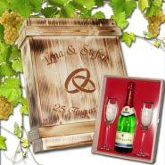 Geschenkset  Hochzeit, 2 Sektgläser mit Goldrand und Sektflasche in rustikaler Holzbox mit Schiebedeckel