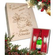 Geschenkset Weihnachten, 2 Sektgläser mit Goldrand und Sektflasche