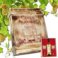 Weissweinset in rustikaler Holzkiste mit Gravur, 2 Gläser und einer Flasche Weisswein