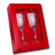 Geschenkset Claret - 2 Sektgläser mit Gravur Hochzeit im Geschenkkarton