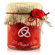 Marmeladenglas mit Deckchen natur und rotem Gummiband mit Rose