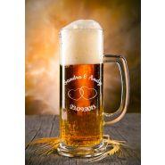 """Bierkrug Bierseidel schlank 0,3L """"mittel"""" mit Gravur Hochzeit"""