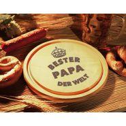 Schinkenteller, Schneidbrett, Brotzeitbrett Gravur, Holz Wunschlogo, 24cm Durchmesser, Premium Jausenbrett