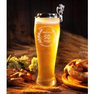 Bierglas Weizenbierglas Bayern 0,5L mit Gravur und Zinndeckel flach zum Aufstecken