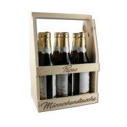 Männerhandtasche Gravur - Bierträger Holz, Flaschenträger, Herrenhandtasche gravieren