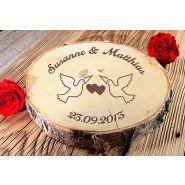 Baumscheibe zur Hochzeit XL Holzscheibe mit Gravur