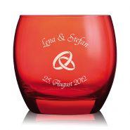 """Windlicht """"Red Love"""" mit Gravur Hochzeit"""