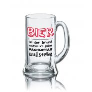 Lustiges Bierglas Bierkrug Icon 0,5L - Dekor: Bier - ist der Grund warum ich jeden NACHMITTAG aufstehe