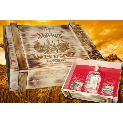 Holzkiste rustikal geflammt mit Whiskygläsern mit Gravur Beispiel