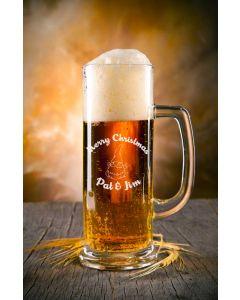 """Bierkrug Bierseidel schlank 0,3L """"mittel"""" mit Gravur Weihnachten"""