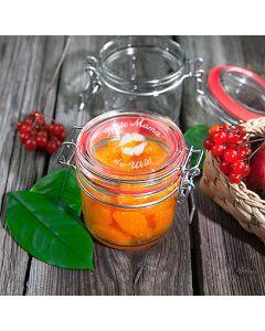 Marmeladenglas Einmachglas Drahtbügelglas 200ml mit Gravur Wunschtext