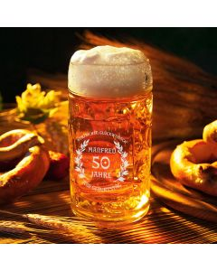 Maßkrug Oktoberfest 0,5L - Halbe Maß mit Wunschgravur - Hoibe Maß