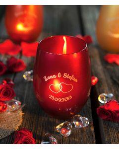 Windlicht Primary Rot graviert zur Hochzeit