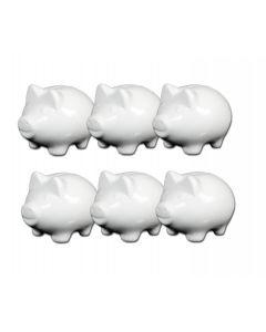 6 Stück Sparschwein klein 10cm Porzellan